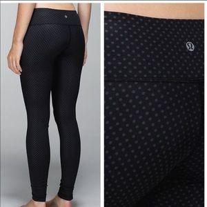 Lululemon black with gray polka dots full length